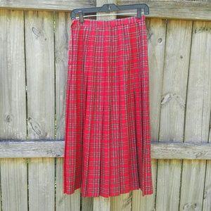 Vintage Pleated Tartan Midi Skirt